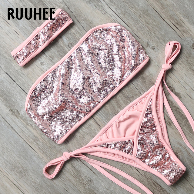 RUUHEE Bikini 2017 Swimwear Women Swimsuit Bathing Suit Brazilian Sequins Beachwear Push Up Bikini Set Maillot De Bain Biquini