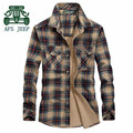 AFS JEEP M to 5XL Man's Single Buttons Plaid Leisure Autumn 100% Cotton Long Sleeve Shirt For Man,Autumn Cargo Motorcycle Shirts