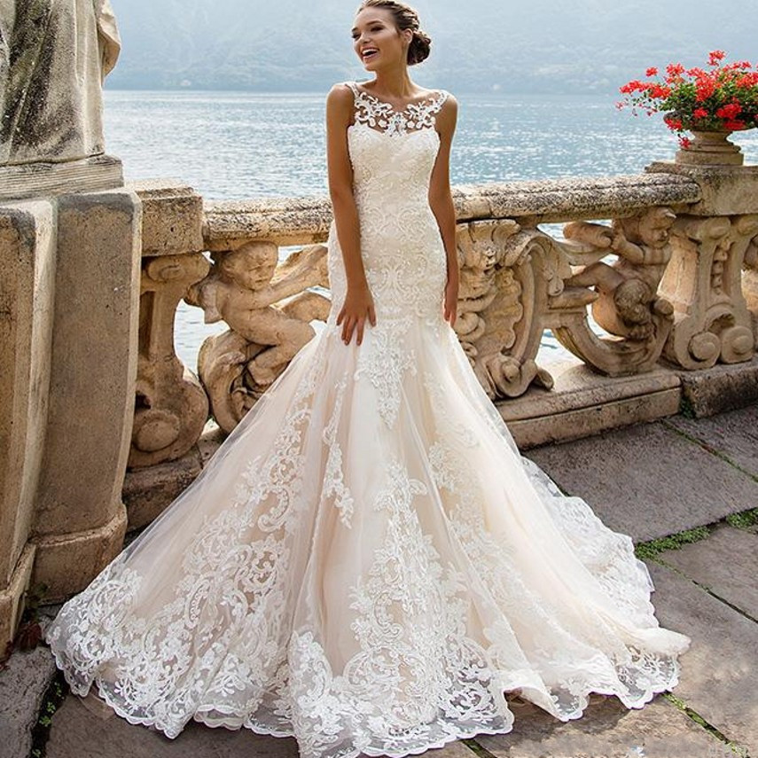 00226 Sexy Cap Sleeve Long Lace Wedding Dresses 2017 Sexy