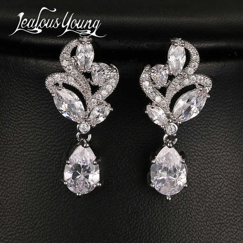 Fashion Flower Sparkling Tiny CZ Halo Drop Wedding Earrings Elegant & Charming Long Earings Jewelry For Women Gift AE131