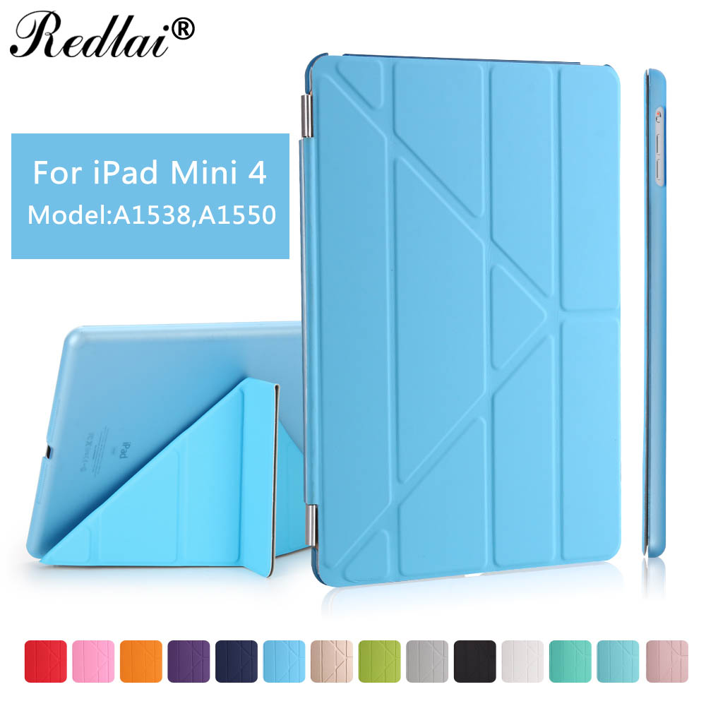 Case For iPad Mini 4,Redlai Luxury Smart Flip Magnet PU Leather Smart Cover Hard Back Cover For Apple iPad Mini 4 Tablet Case ultra thin stand design pu leather case for ipad mini 4 cover colorful option flip smart cover tablet case free shipping