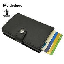 Maideduod  Men And Women Genuine Leather Card Holder Vintage Purse Crazy Horse Leather Aluminium Credit Business Card Holder