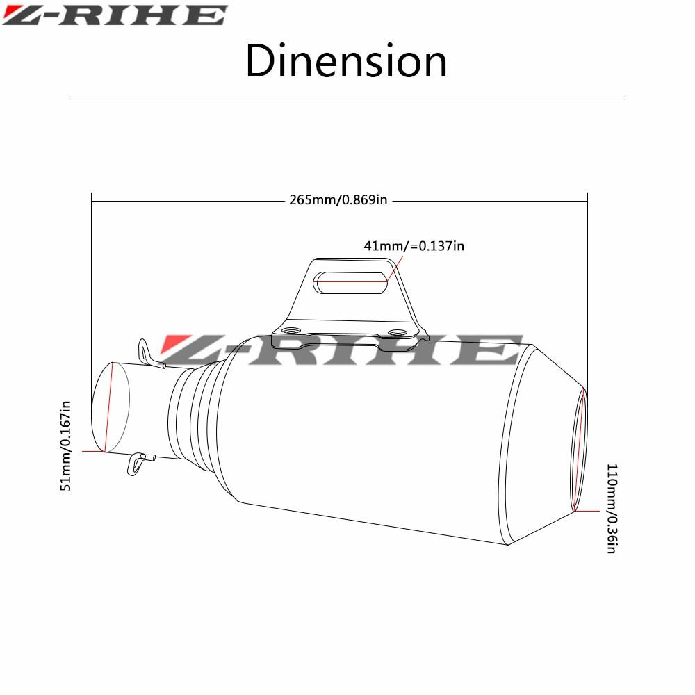 36 51mm Kohlefaser Motorradauspuff Schalldämpfer Modifizierte Auspuffrohr Für Benelli Hurrikan 1130 Blue Dragon BJ300GS Z1000 Z800 - 2
