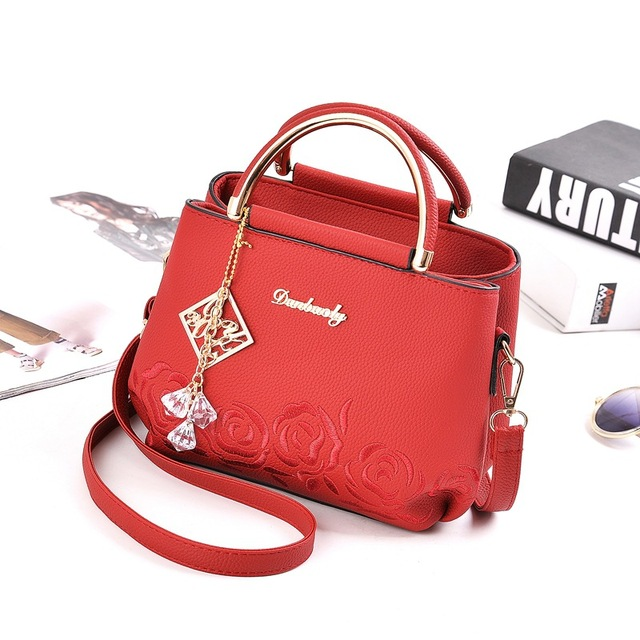 Women's  Embroidery PU Leather Designer Hand Bag