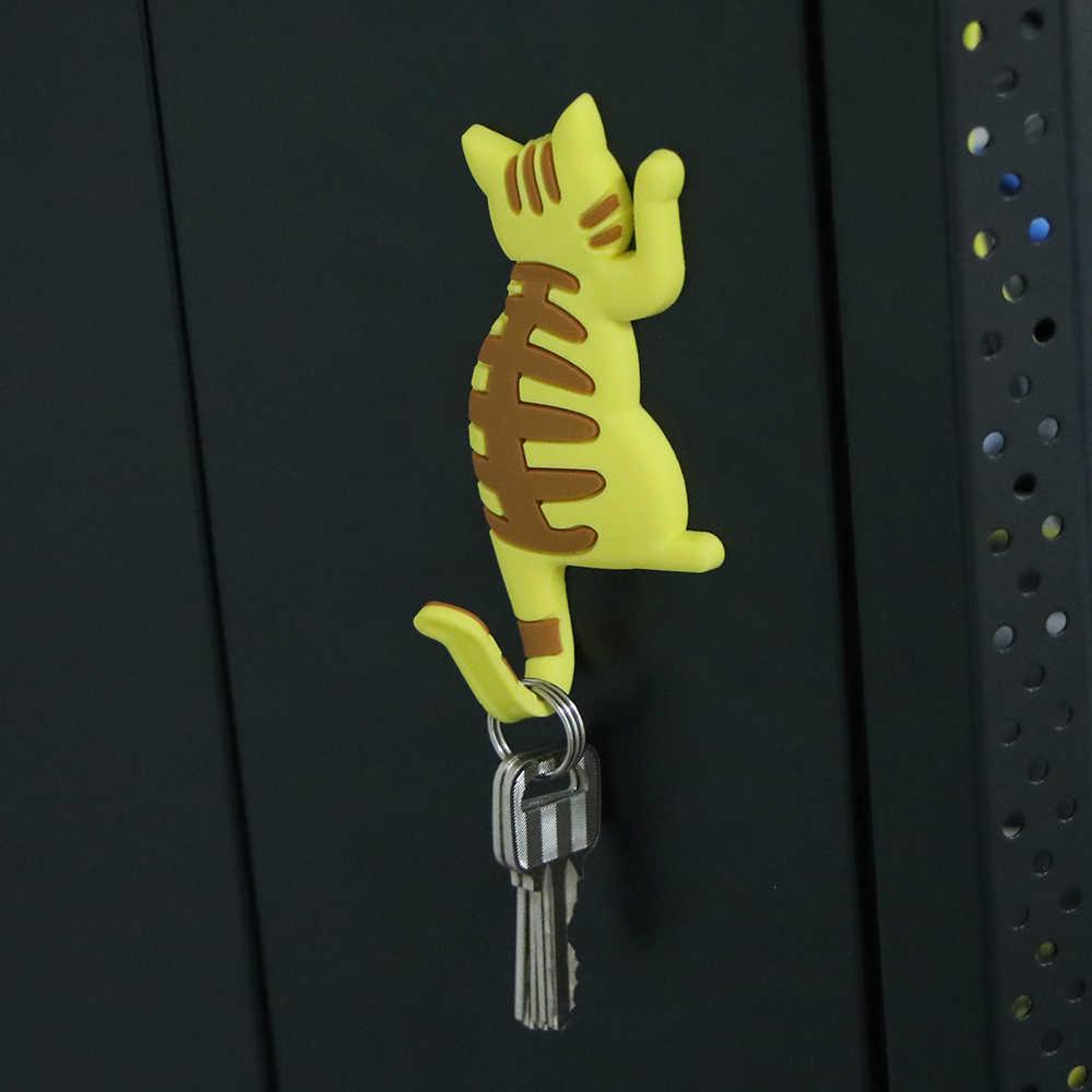 Portátil Bonito Dos Desenhos Animados Gato Imã de Geladeira Ímã Gancho Titular Hanger Cozinha Forno de Microondas Adesivo