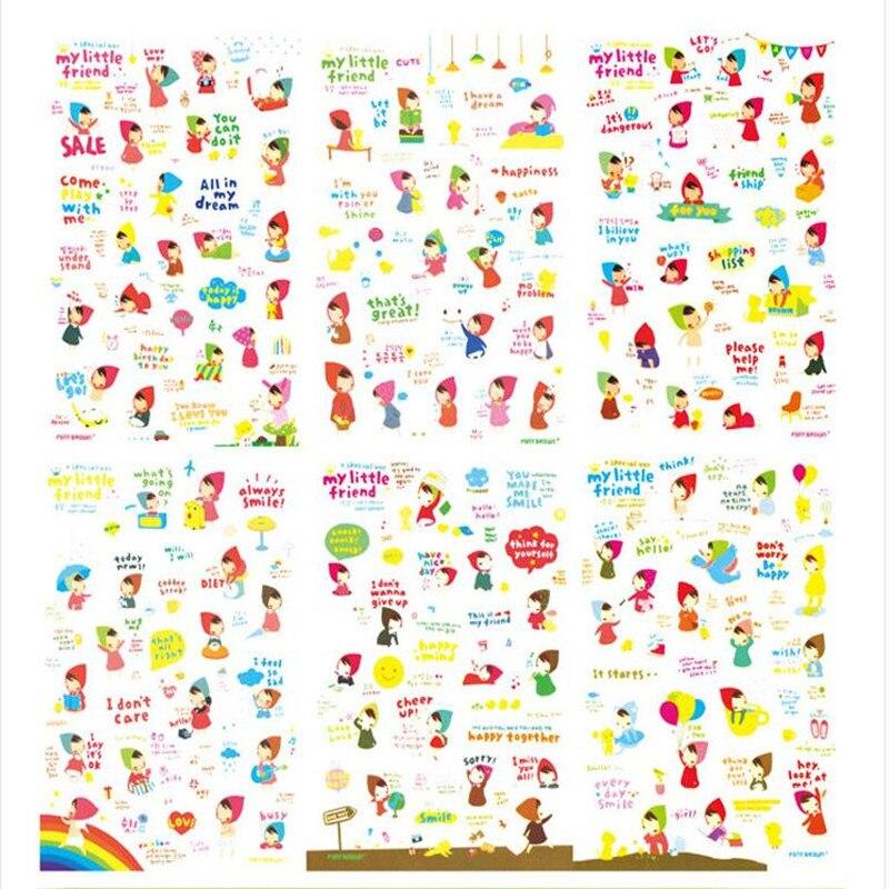 Купить с кэшбэком 6sheets/pack 16 Styles Can Choose Kawaii Cartoon DIY Diary PVC Stickers Cute Sticky Notes Planner Notebook Office Decoration