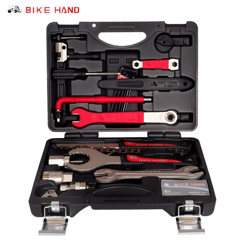 BIKEHAND 18 In 1 Bicycle Service Tool Kit For BB Bottom Bracket Crank Freewheel Hub Pedal Spoke Chain Tools Tube Repair YC-728