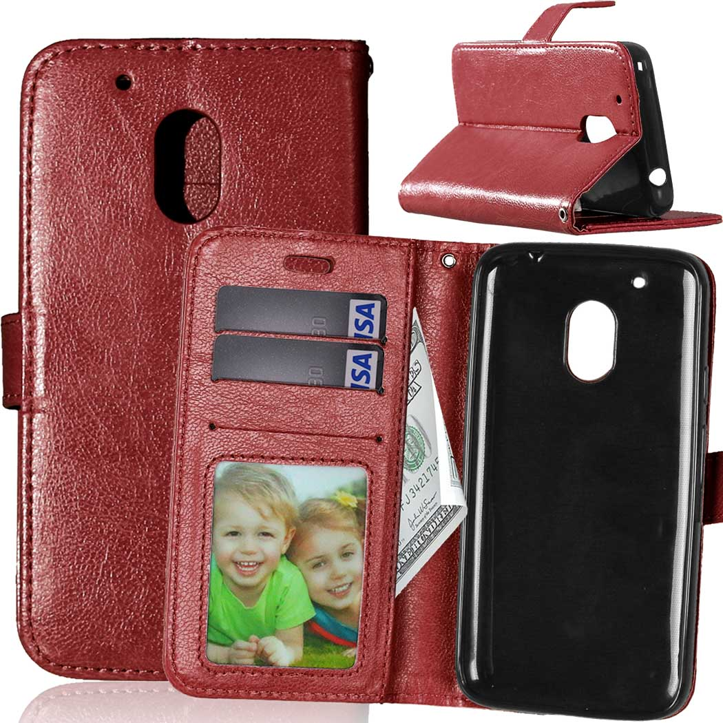 huge discount b143f 164e3 US $3.98 20% OFF|Leather Case For Motorola Moto G4 Play Cases Luxury Wallet  Stand Flip Cover for Moto G4 Play 5 inch Phone Case with Card Holder-in ...