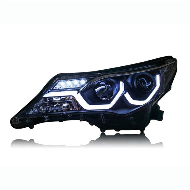2pcs Ownsun LED Double-U Sharp Eagle Eye DRLs HID Bi-Xenon Projector Len Replacement Headlights For Toyota RAV4 2013-2015 цены