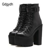 Женские мотоциклетные ботинки Gdgydh  черные кожаные ботинки на молнии с металлической пряжкой на высоком каблуке на весну-осень