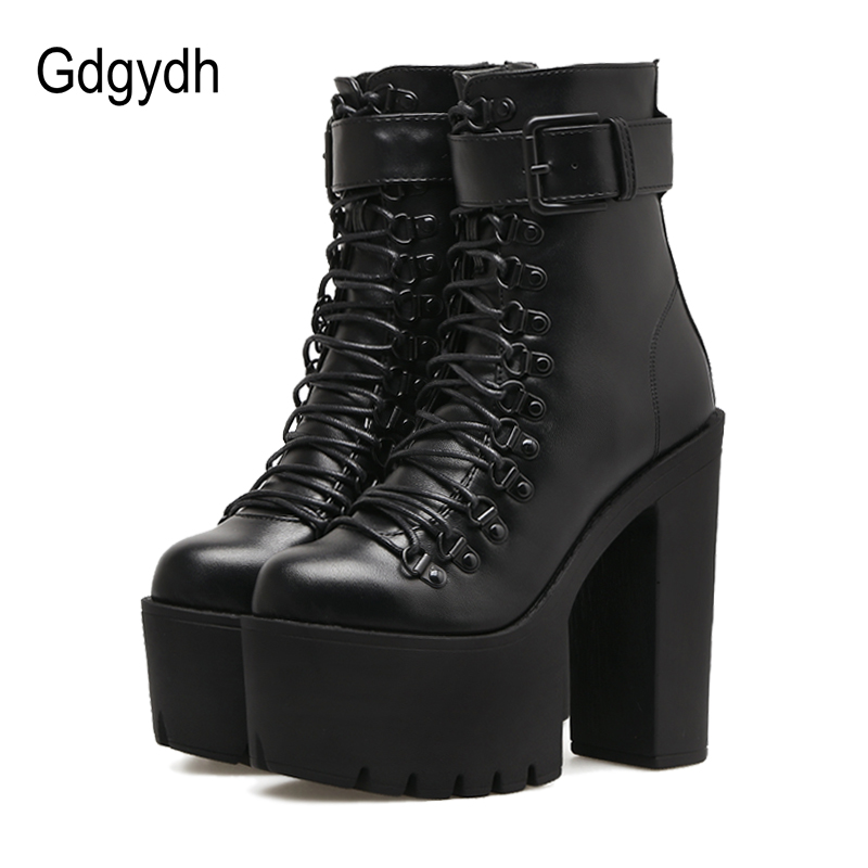 Gdgydh/модные мотоботы Для женщин кожа Демисезонный из металла обувь на высоком каблуке с пряжкой на молнии Черные ботильоны женщина шнуровко...