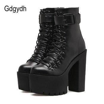 Gdgydh/модные мотоботы для женщин кожа весна осень с металлической пряжкой обувь на высоком каблуке молнии черные ботильоны женские шнуровк