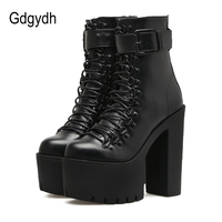 Gdgydh עור נשים מגפי אופנועני אופנה סתיו אביב אבזם מתכת נעלי עקבים גבוהים אישה לשרוך מגפי קרסול רוכסן שחור