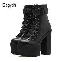 Gdgydh Moda Motocicleta Botas Mujer Otoño del Resorte de Metal Hebilla de Zapatos de Tacones Altos de Cuero Negro Con Cremallera Botines Mujer Lacing