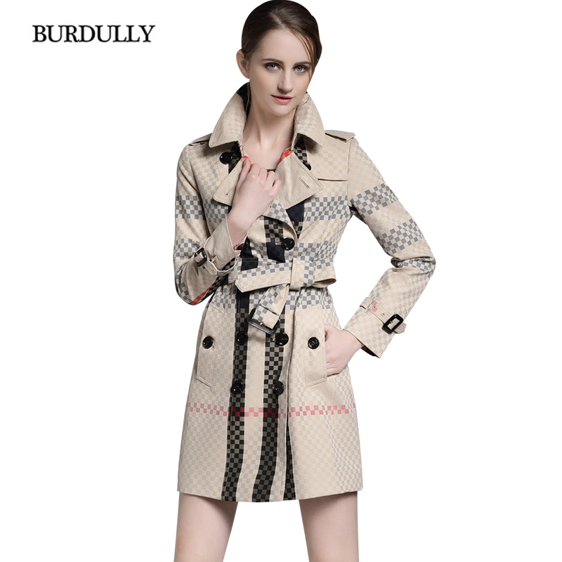 BURDULLY 2017 British Style Patchwork Double Breasted Windbreaker Winter Trench England Women Trench Coat Casual Plaid Autumn