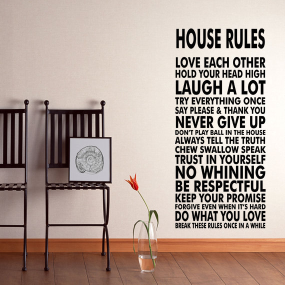 House Rules Vinyl Wall Decal Sticker We Do Art Vinyl Poster Print Sign For  Living Dining