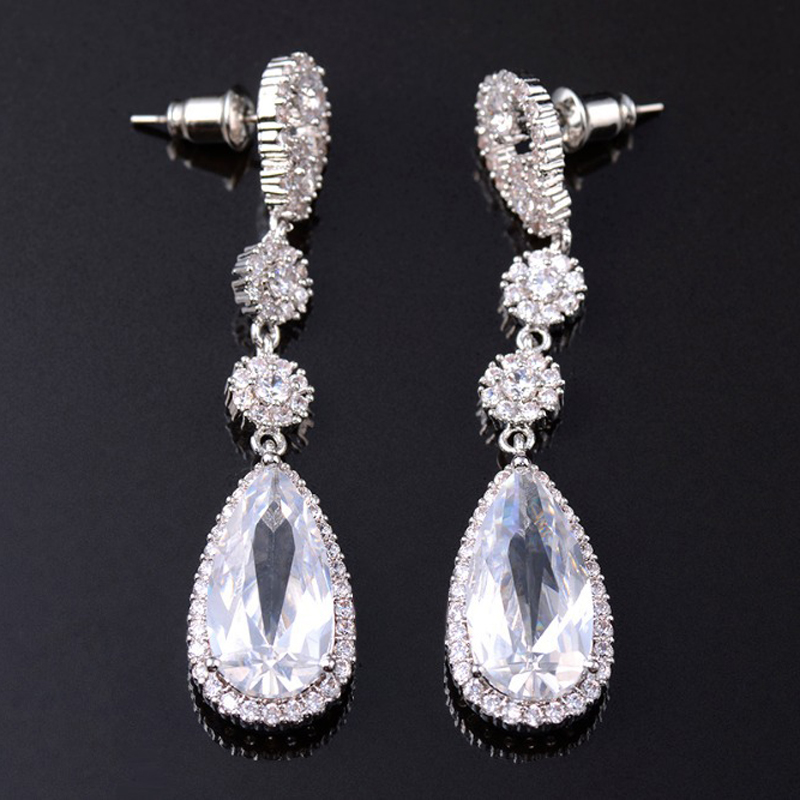 Wedding Earrings White Gold: White Gold Plated Oval Shape Natural Pearl Long Bridal