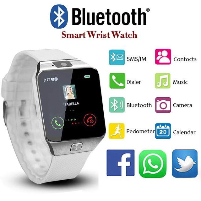 2018 New Design Electronic Intelligent Sport Gold Smart Wristwatch DZ09 Pedomete