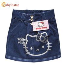Babyinstar Nouveau 2017 D'été Adolescents Denim Filles Jupe Beau Dessin Animé Bonjour Kitty Bouton Taille Poches Filles Jeans Jupes