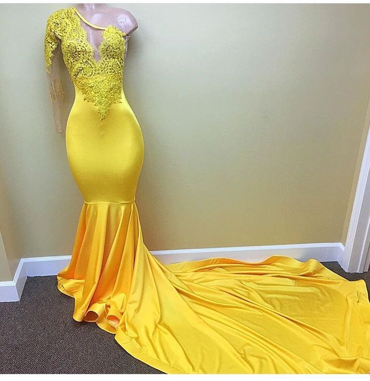 Yellow 2019   Prom     Dresses   Mermaid One-shoulder Long Sleeves Lace Pearls Party Maxys Long   Prom   Gown Evening   Dresses   Robe De Soiree