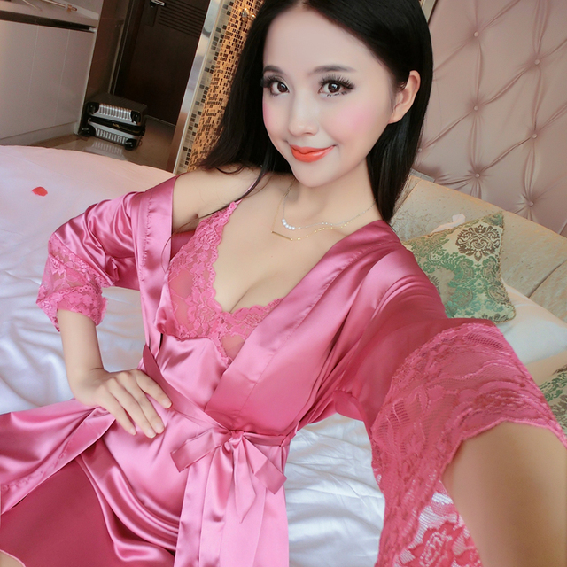 Ladies Sexy Silk Satin Robe   Gown Set Lace Bathrobe   Nightdress Fashion Sleepwear  Nightwear Home c730ff2af