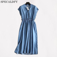 2018 Summer Jeans Dress Women Casual Tencel Denim Dresses Sleeveless Sundress Plus Size Shirt Dress Vestido Jeans Robe Femme