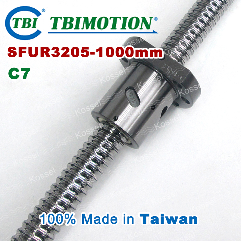 TBI 3205 C7 1000mm ball screw 5mm lead with SFU3205 ballnut of SFU set end machined for high precision CNC diy kit tbi 2510 c3 620mm ball screw 10mm lead with dfu2510 ballnut end machined for cnc diy kit dfu set