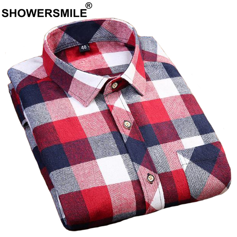 SHOWERSMILE Plaid Flannel Shirt Men Cotton Slim Fit Red Shirt Male Long Sleeve Black White Shirt Casual Autumn Winter Clothing plaid