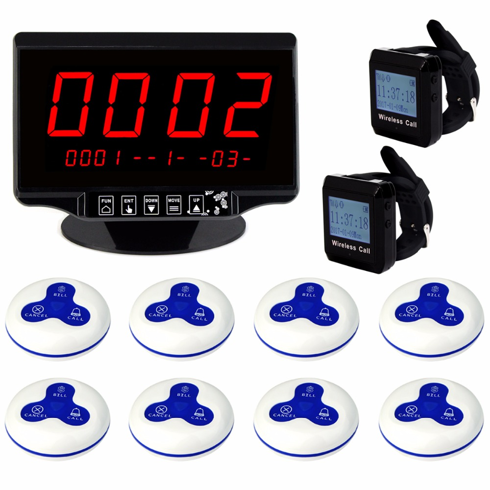 2.3 Voice Reporting Receiver Host+2 Watch Receiver+8 Call Button for Wireless Pager Calling Queuing System 433MHz F3260 wireless pager restaurant calling system tivdiovoice reporting receiver host watch wrist receiver call transmitter button 433mhz