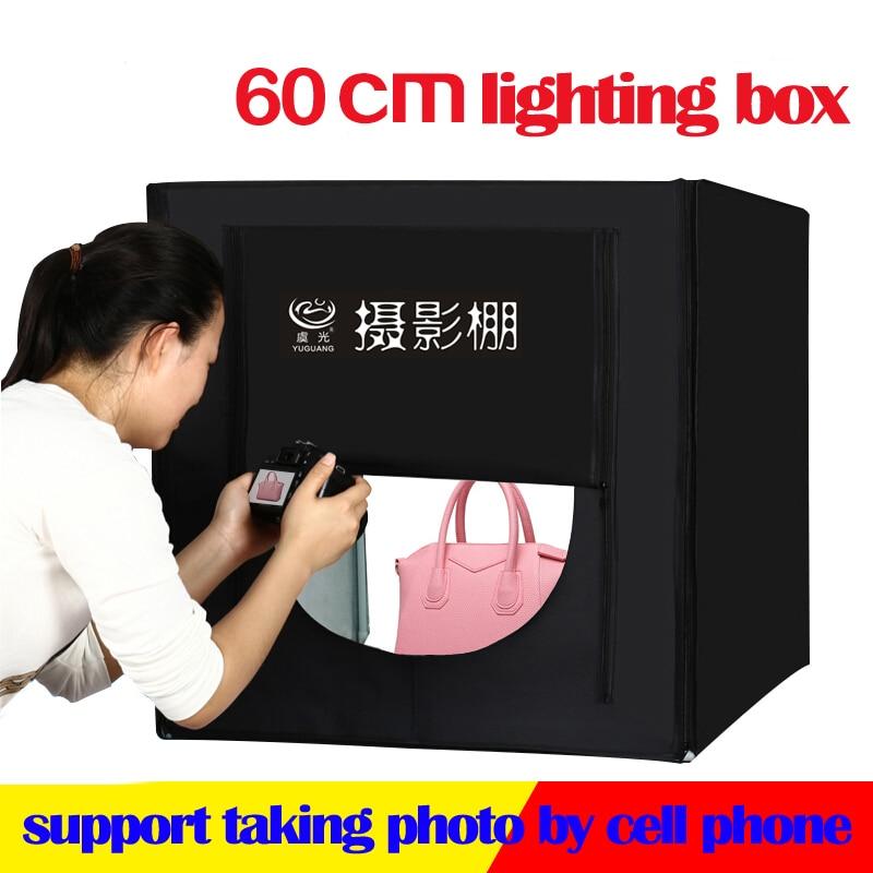60*60cm LED Photo Lighting Box Photography Studio Light Tent Softbox +Portable Bag+AC Adapter for Jewelry Toys Shoting 120 100 200cm photo studio softbox photography lightbox light box shooting light tent with free gift portable bag
