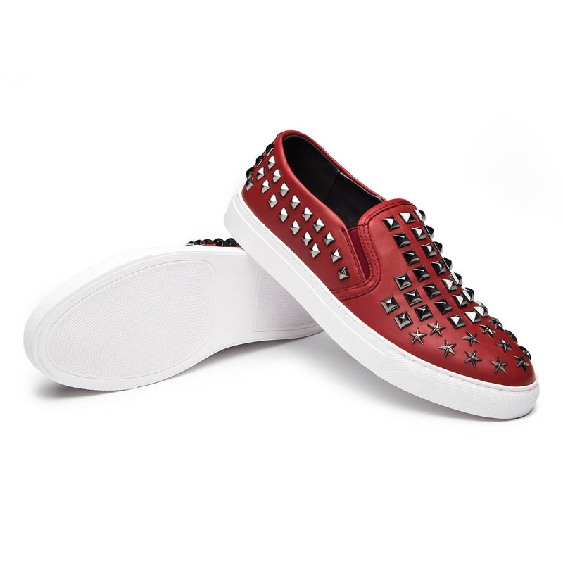 Rock White Slip Rivet 2018 Punk Casual En Blanc Hommes Height Mocassins red On Toe Spéciale Nouvelle Respirant black Offre white Cuir Ronde Pu Mode Height black Grande Male Hideen Taille Chaussures qRgxrq8