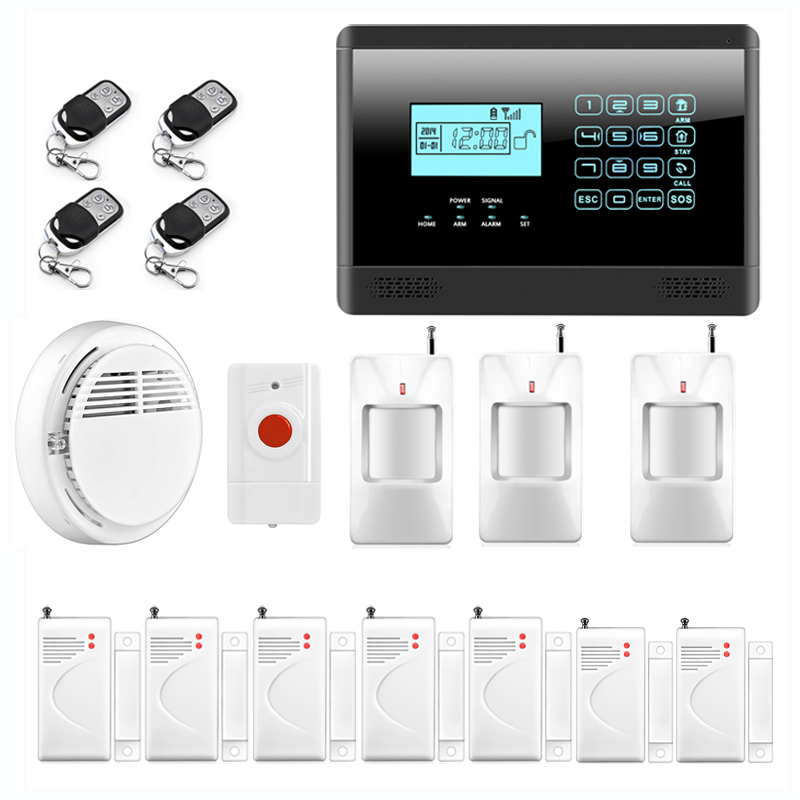 wireless gsm sms home emergency alert security alarm system fire smoke alarm alert touch. Black Bedroom Furniture Sets. Home Design Ideas