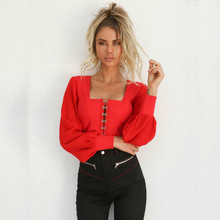 MUXU red chiffon blouse long sleeve clothes streetwear patchwork body tops summer  free shiping backless fashion