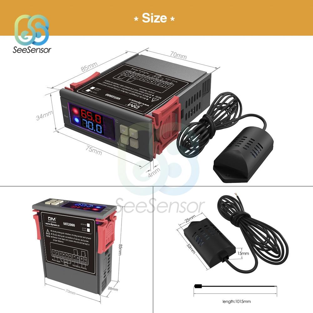 SHT2000 AC 110-220V Digital Temperature Humidity Controller Home Fridge Thermostat Humidistat Thermometer Hygrometer Max 10A