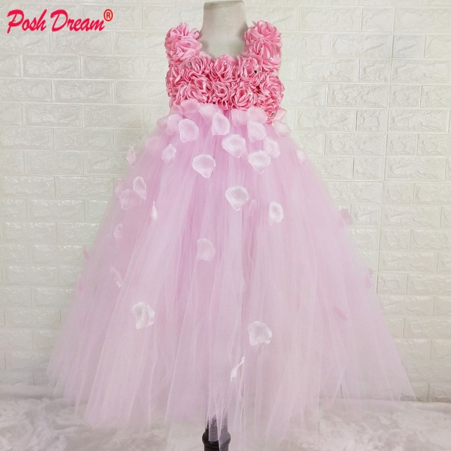 4d081d76e POSH DREAM Beautiful Pink Flower Girl Tutu Dress Embellished with Petals  Weddings Christening Special Occasions Kids