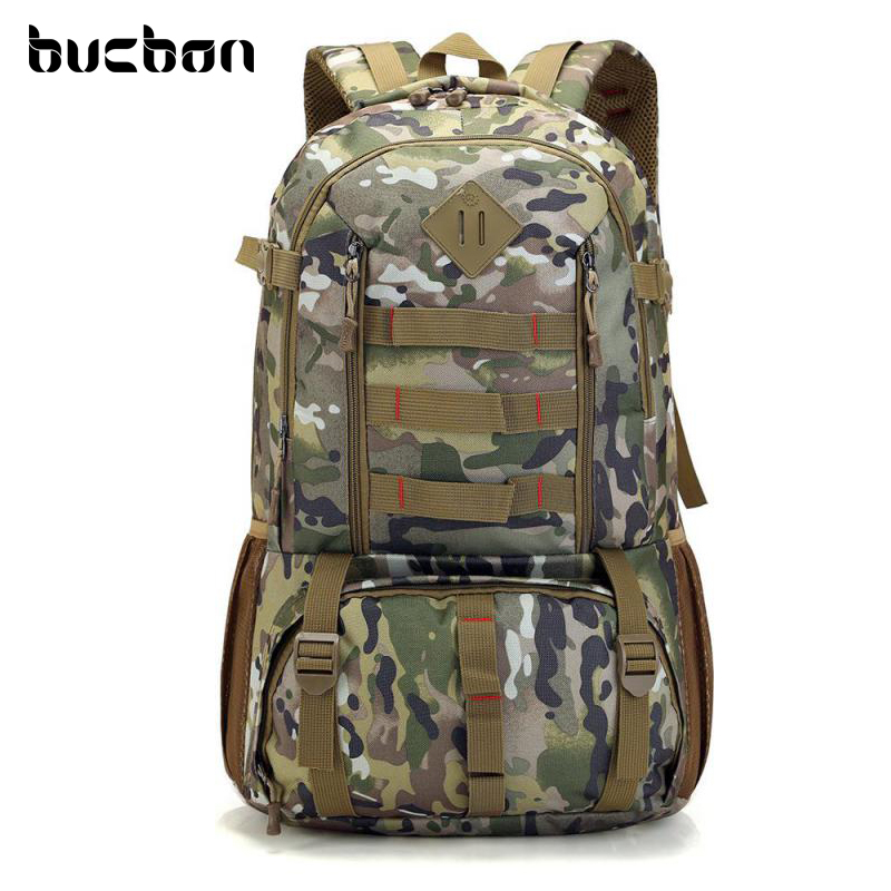 Bucbon Camo Tactical Backpack Military Army Mochila 50L Waterproof Hiking Hunting Backpack Tourist Rucksack Sports Bag