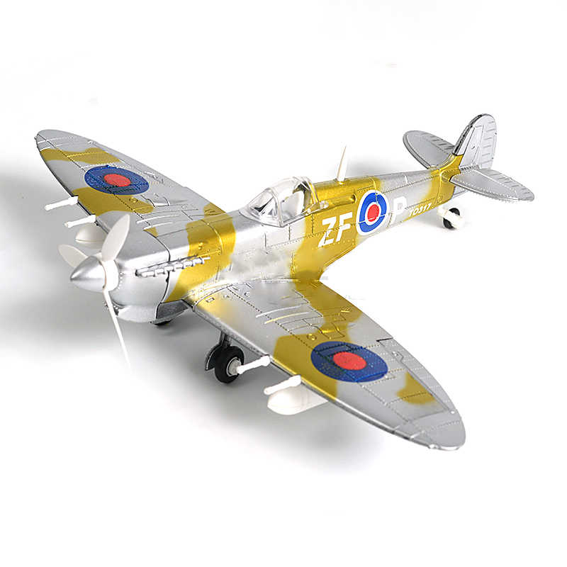 6PCS Plastic DIY Military Spitfire Fighter Plane Model Building Kits 4D WW2  Airplane Bricks Model Aircraft Toy For Children