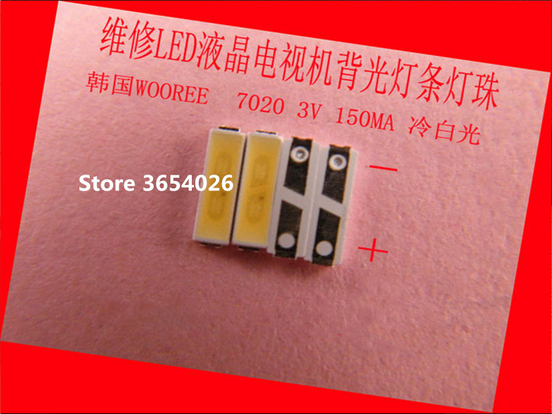 50piece/lot For Repair LCD TV LED Backlight Article Lamp Korean WOOREE SMD LEDs 7020 3V Cold White Light Emitting Diode