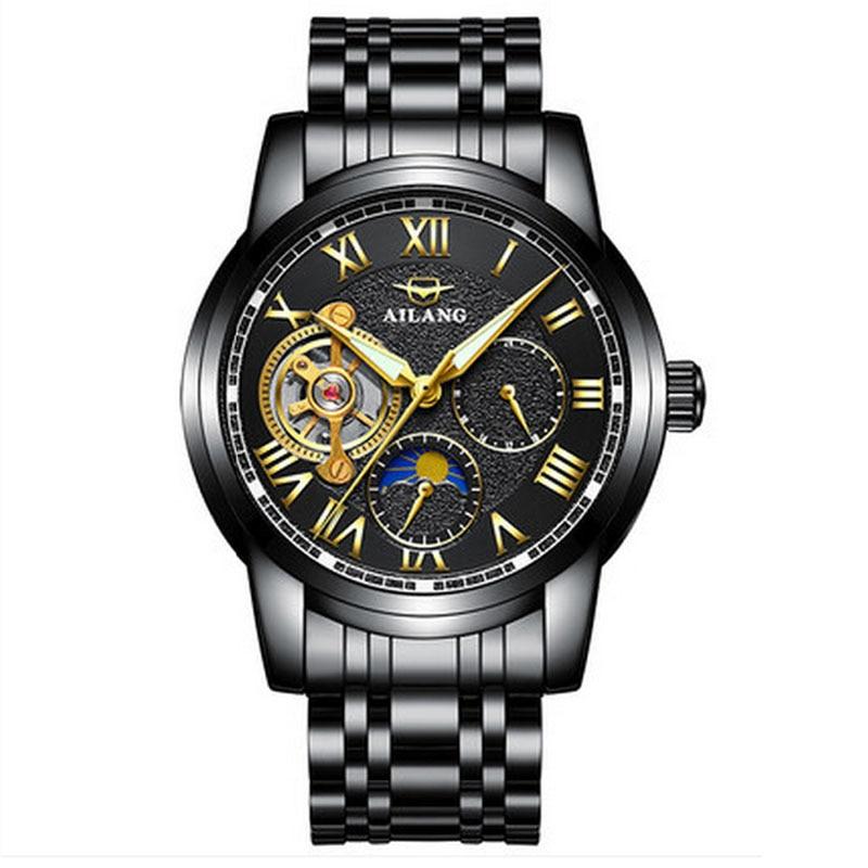 2018 luxury black Tourbillon automatic mechanical watch sun and moon stars stainless steel men's watches  Montre Homme Watch patek philippe sky moon tourbillon в самаре