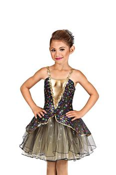 Girls Ballet Dancing Costumes Children Ballet Dance Skirt Performance Dress Golden Color Sequins Stage Performance Suit D-0454