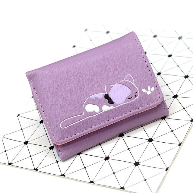 BOTUSI Carton dormir chat dames PU cuir court portefeuille porte-carte porte-monnaie femmes moraillon pochette sac dargent motif Animal