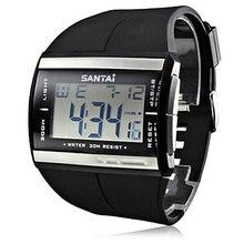 Electronic 2016 Nueva Relojes de Moda A Prueba De Agua LCD Reloj Digital Reloj SanTai Rubber Band Reloj de Cuarzo Hombres Reloj de Pulsera relogio