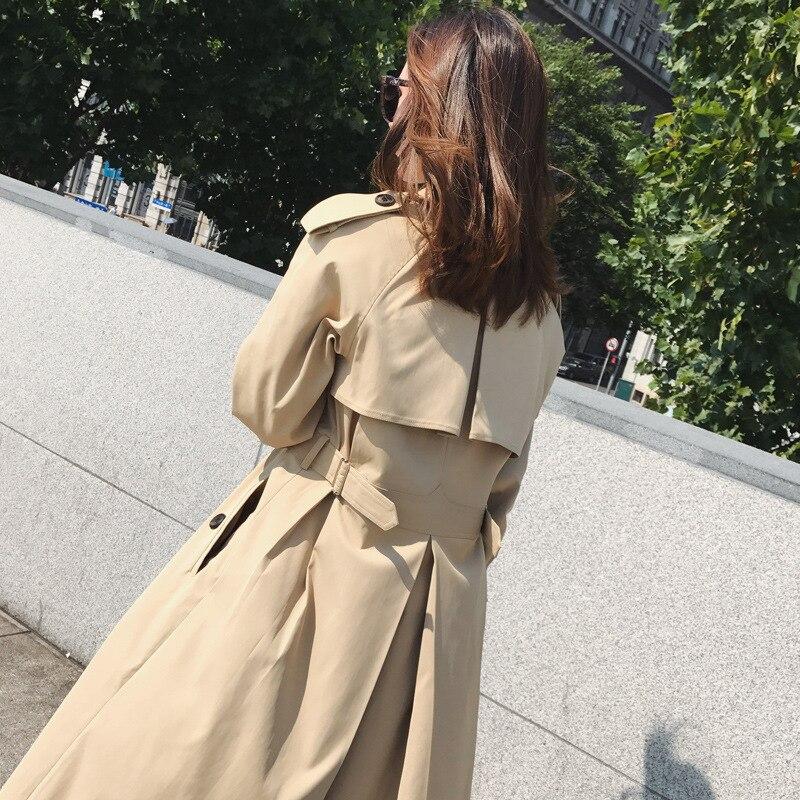 Wiosna i jesień moreli trench coat kobiety ponad kolano długi płaszcz płaszcze damskie tunika ubrania wiatrówka maxi płaszcz elegancki w Trencze od Odzież damska na  Grupa 2