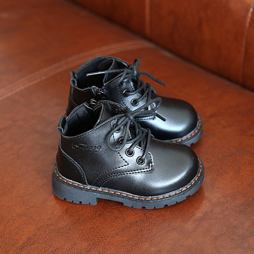 Size 21 30 Fashion children leather boots kids martin boots winter shoes for boys sneakers toddler
