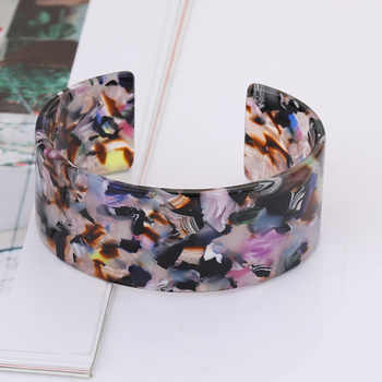 Fashion Open Bangles Bracelets For Women Vintage Leopard Resin Acetic Acid Cuff Bracelet Elegant Ladies Arm Band Jewelry