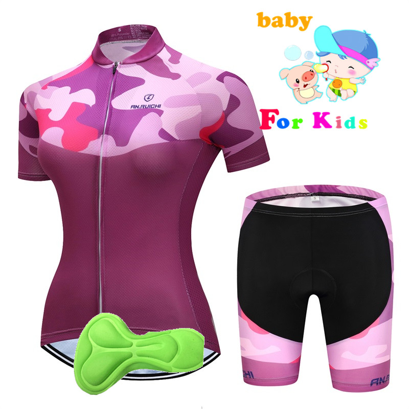 2018 Girl Cycling Jersey Set Team Sports Kid Cycling Jersey & Mountain Bike Bib Shorts Set Maillot Ciclismo Kit Children's Gift