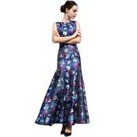 S XXXL Elegant Printed Women Mermaid Party Dress Slim Fit Maxi Dresses Slash Neck Sleeveless Plus Size Summer Dress