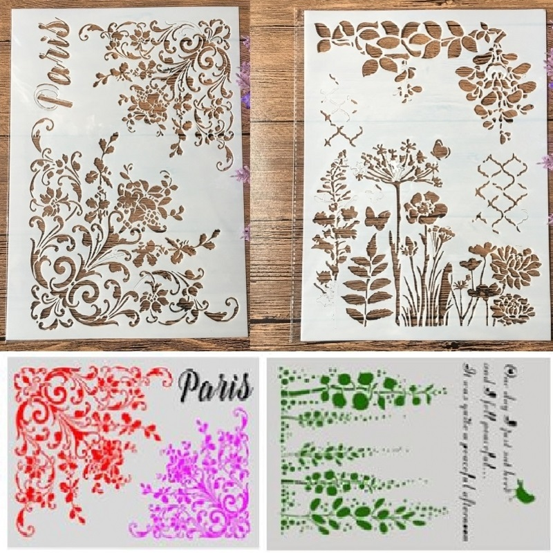 2Pcs/Lot A4 Flowers Paris Butterfly DIY Craft Layering Stencils Painting Scrapbooking Stamping Embossing Album Paper Template