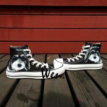 Wen Unisex Black Hand Painted Shoes Custom Design Pet Dog Men Women's High Top Canvas Shoes Casual Shoes