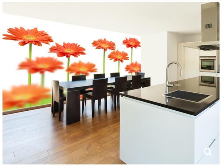 einige orange blumen 3d wandbild fr wohnzimmer schlafzimmer esszimmer hintergrund wasserdichte tapete in benutzerdefinierte natur tapete - Esszimmer Orange